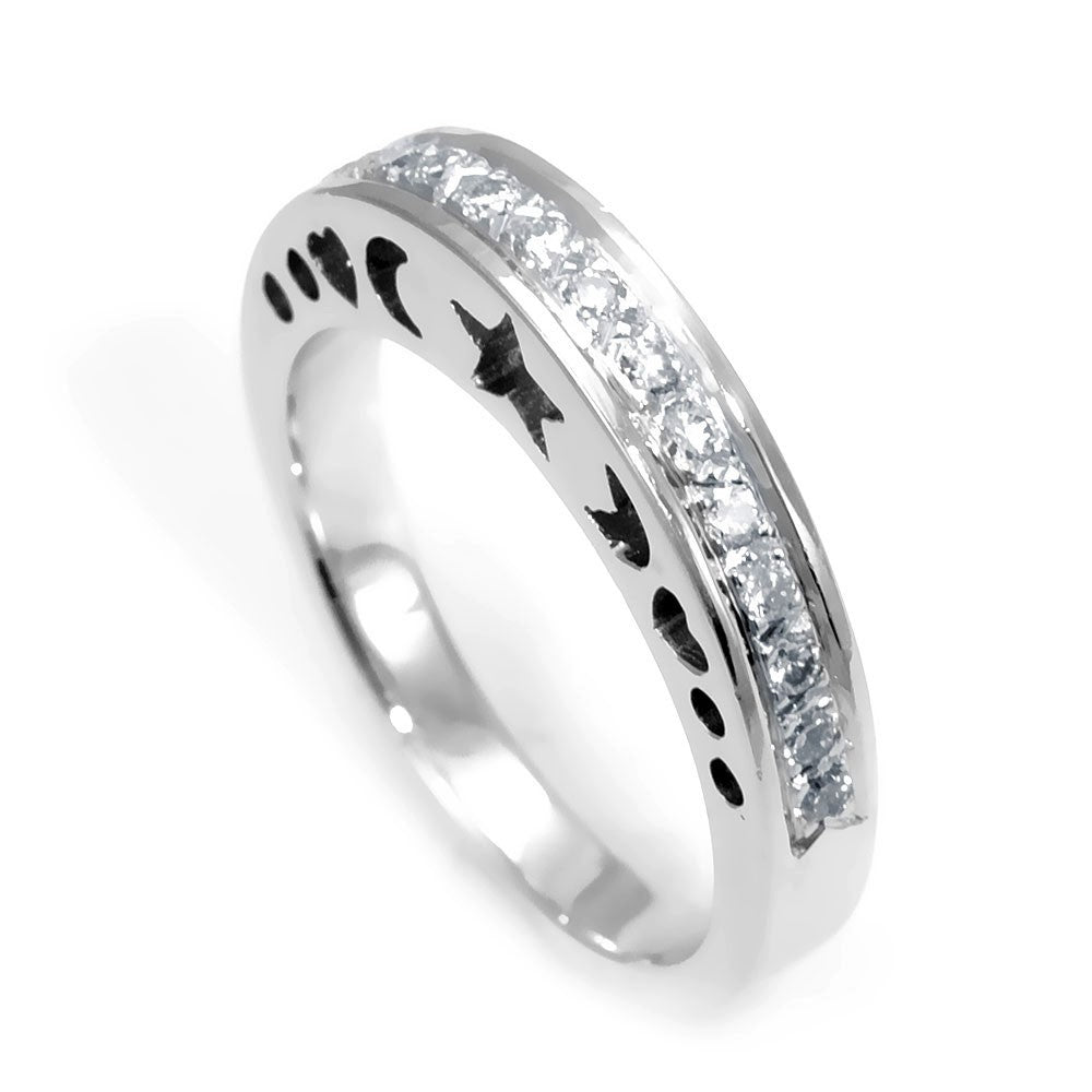 18K White Gold Ladies Cut Out Band with Round Diamonds