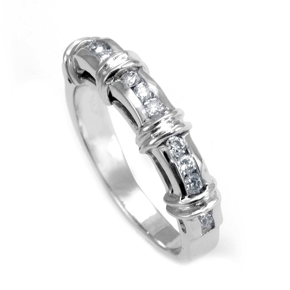 14K White Gold Ladies Band with Channel Set Round Diamonds