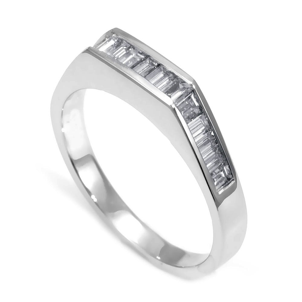 Baguette Diamond Ladies Band in 18K White Gold