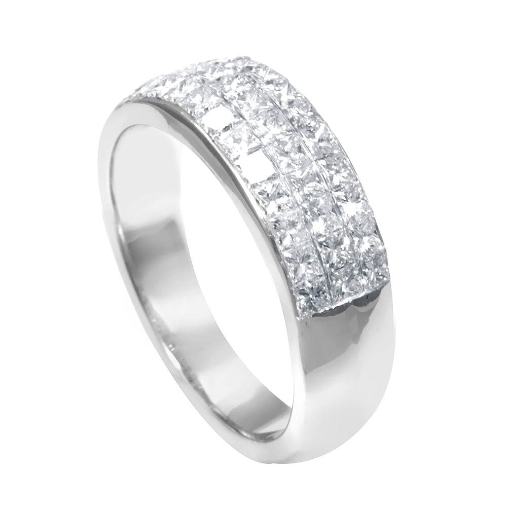 Invisible Set Princess Cut Diamonds in 18K White Gold Ladies Band