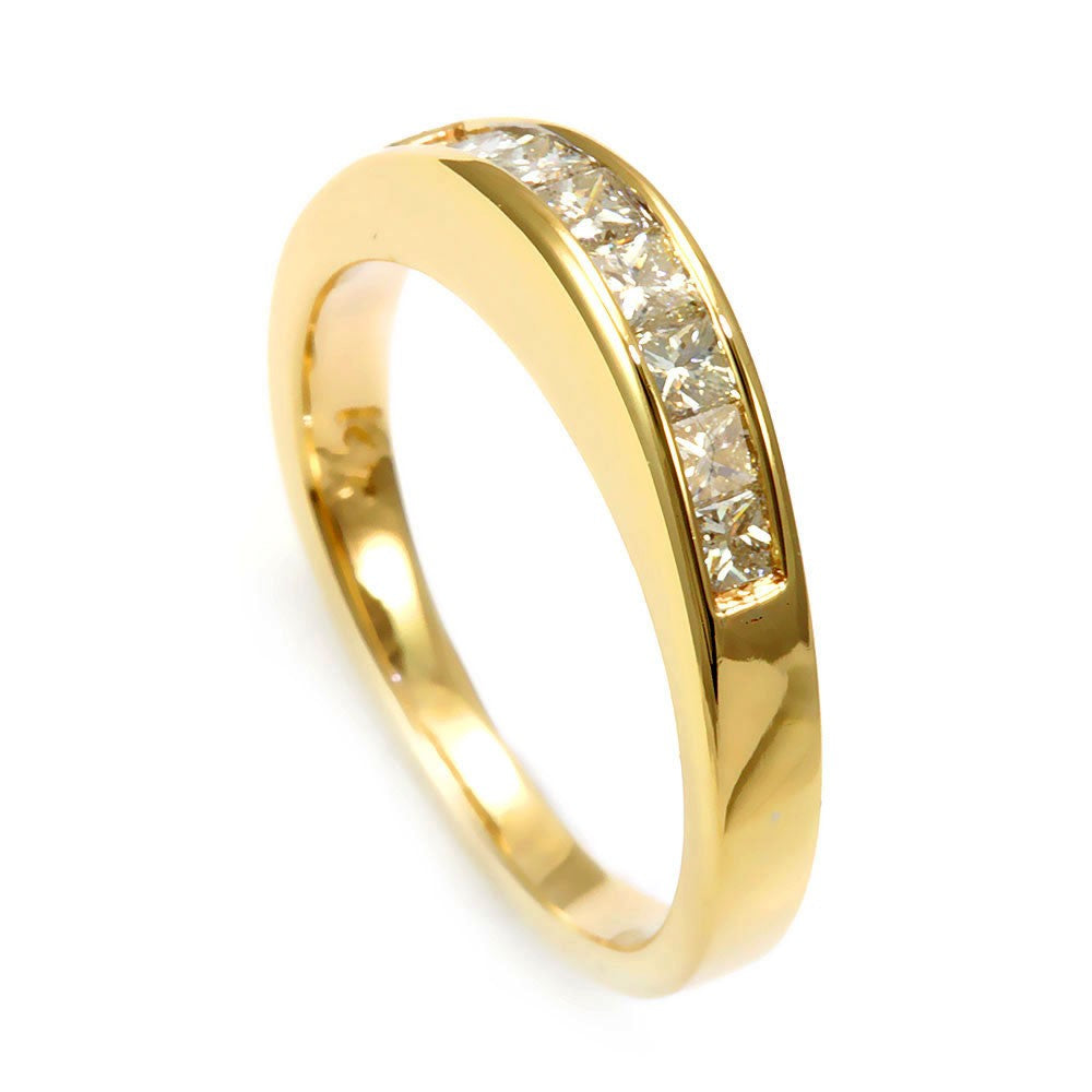 14K Yellow Gold Ladies Band with Princess Cut Diamonds