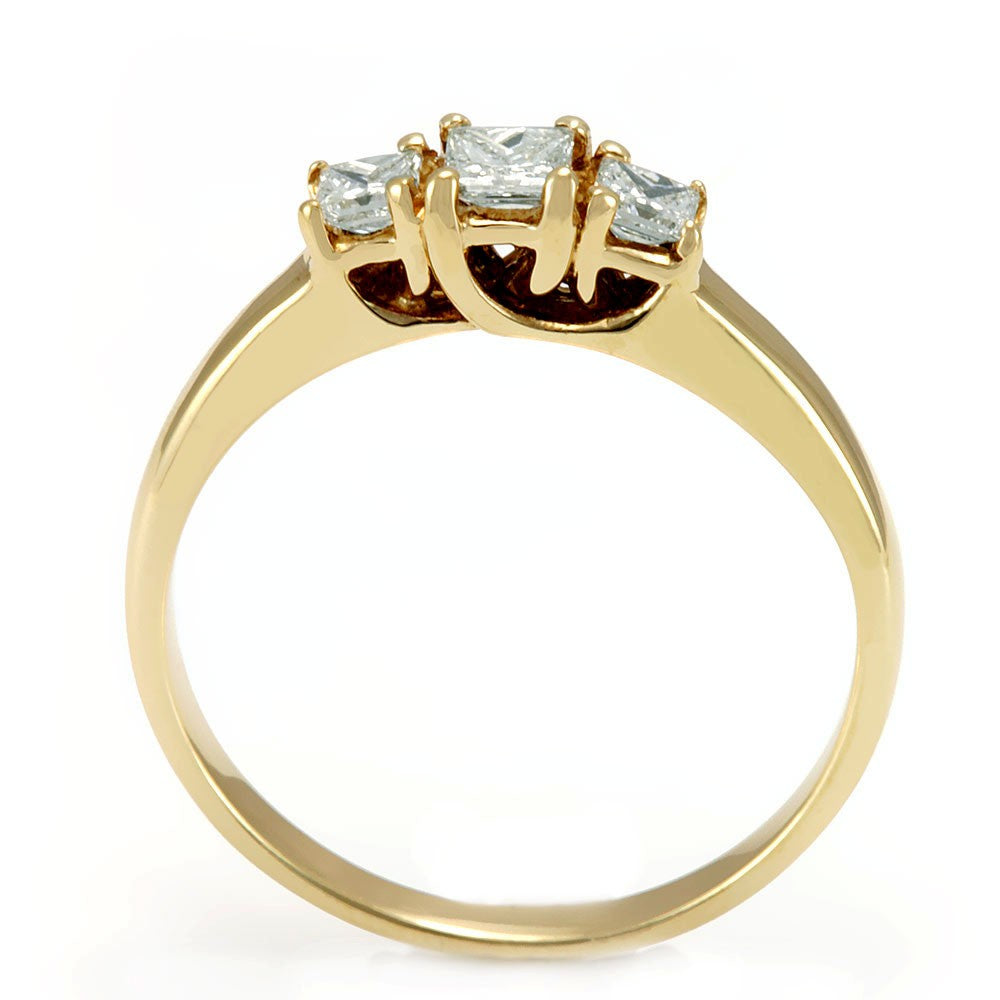 3 Princess Cut Diamond Ladies Ring in 14K Yellow Gold