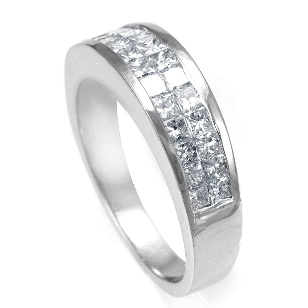 2 Row Princess Cut Diamonds Ladies Band in 14K White Gold