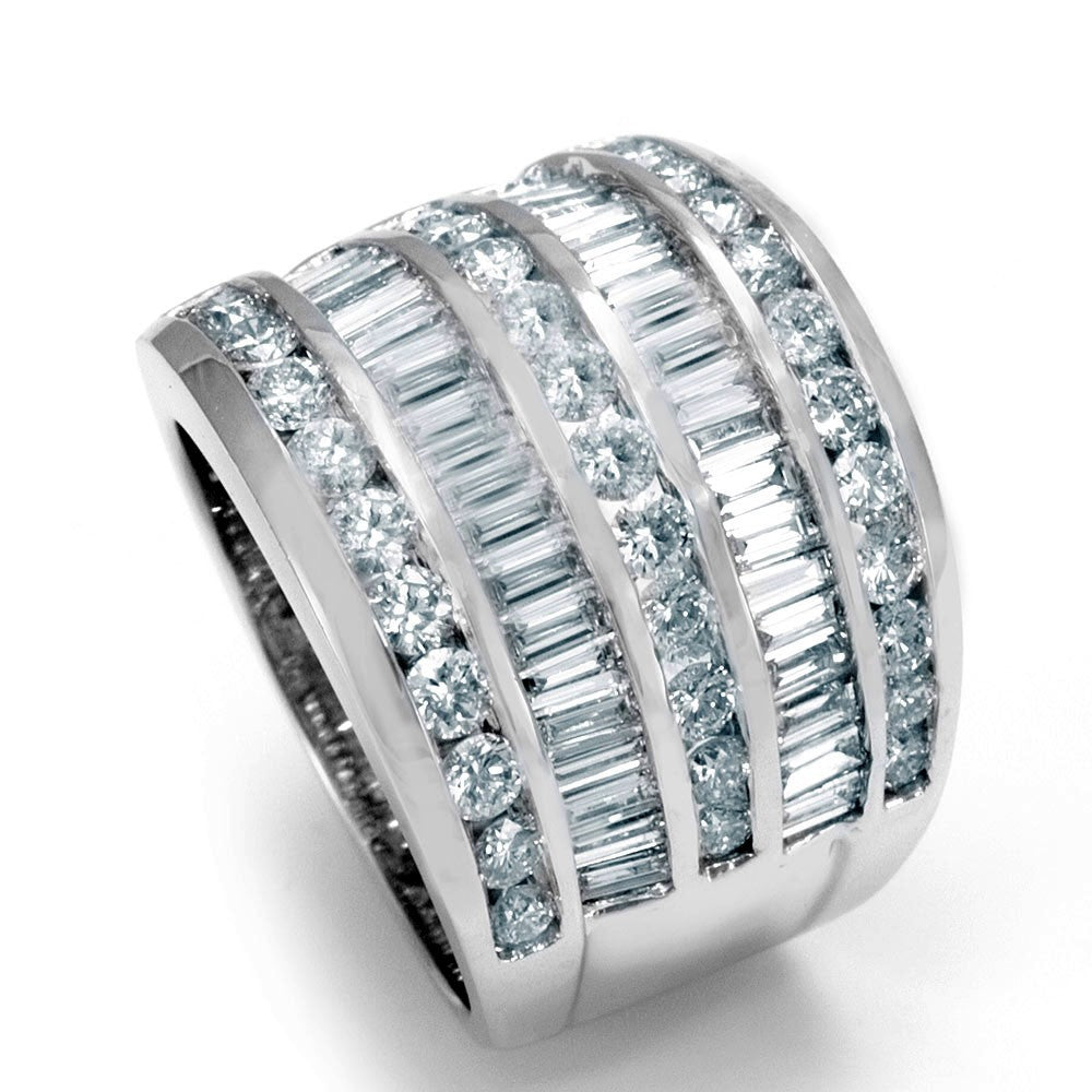 Wide 14K White Gold Ladies Ring with Baguette and Round Diamonds