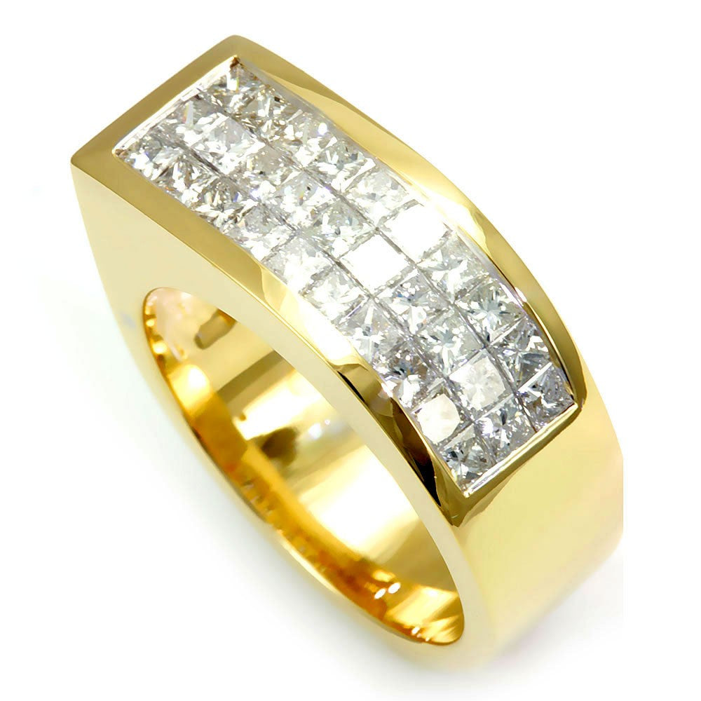 Invisible Set Princess Cut Diamonds Ladies Ring in 14K Yellow Gold