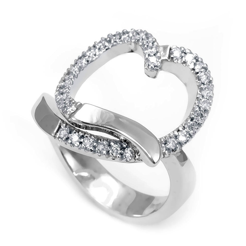 Heart Design Diamond Ladies Ring in 14K White Gold