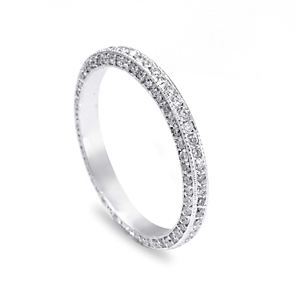 Eternity Ladies Band with 3 Sides Pave Set Diamonds in 14K White Gold