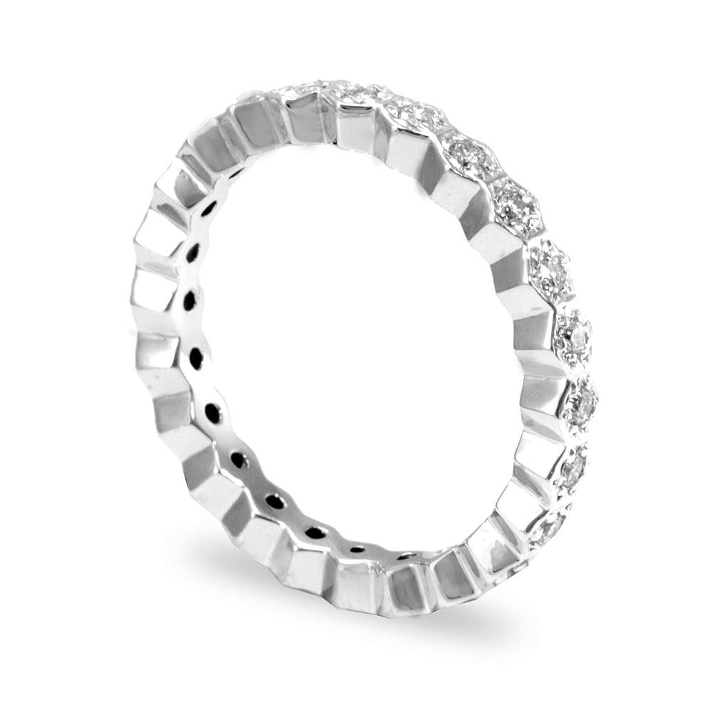 14K White Gold Eternity Band with Pave Set Round Diamonds
