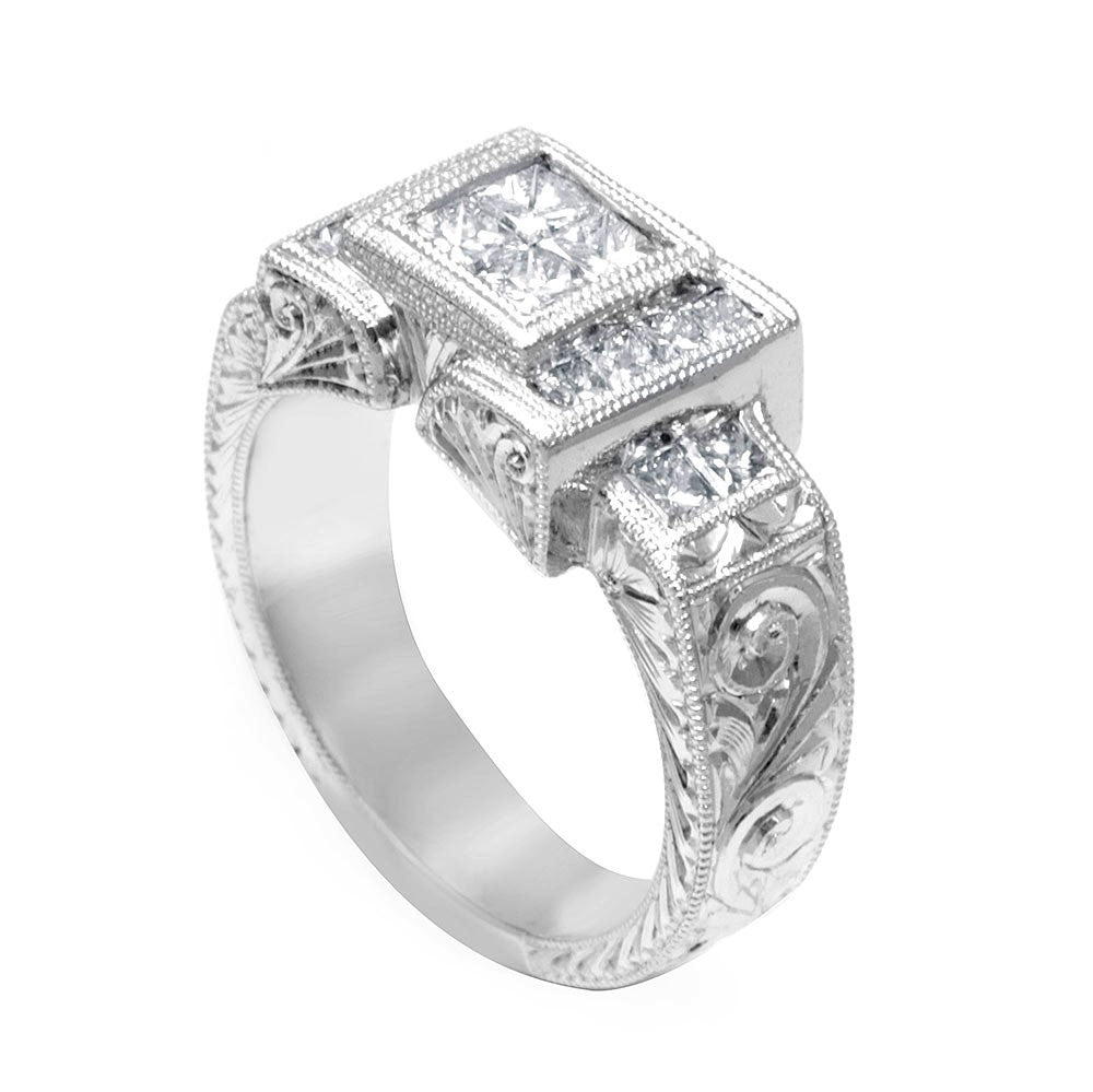 Engraved Ladies Ring with Princess Cut Diamonds in 14K White Gold
