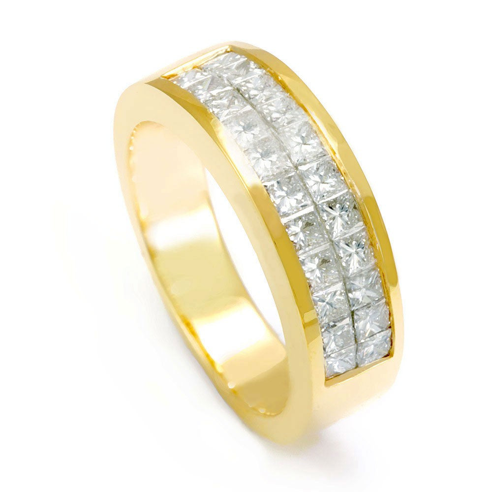 2 Row Princess Cut Diamonds Ladies Band in 14K Yellow Gold