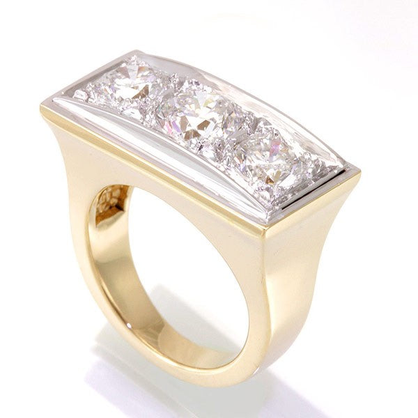 3 Stone Ladies Ring in 14K Two Tone