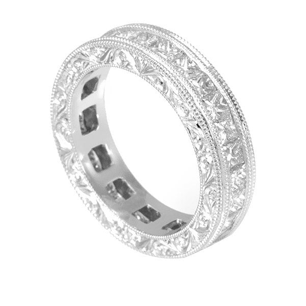 Princess Cut Diamonds Eternity Ring with Engraved Design in 14K White Gold