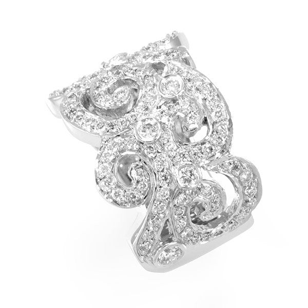 Victorian Inspired Diamond Ladies Ring in 14K White Gold