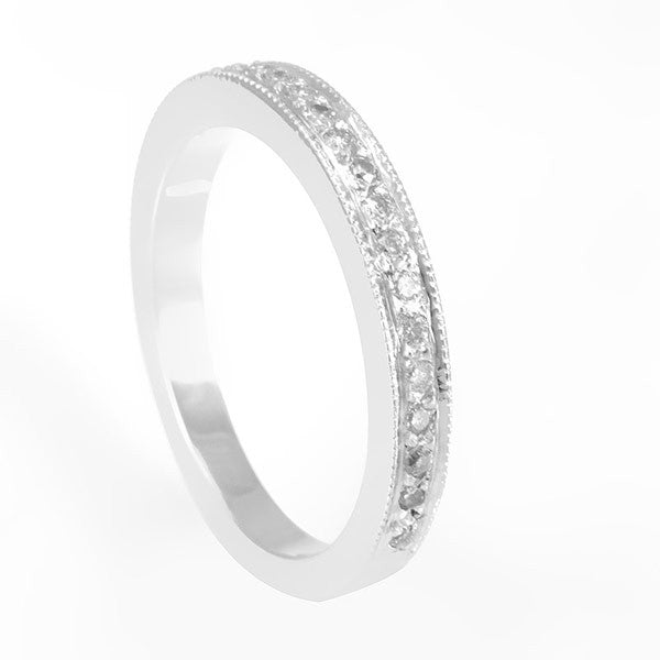 14K White Gold Ladies Band with Pave Set Round Diamonds and Milgrain Design