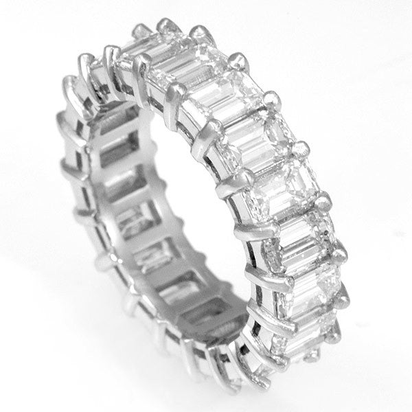 Emerald Cut Diamonds Eternity Ring in 14K White Gold