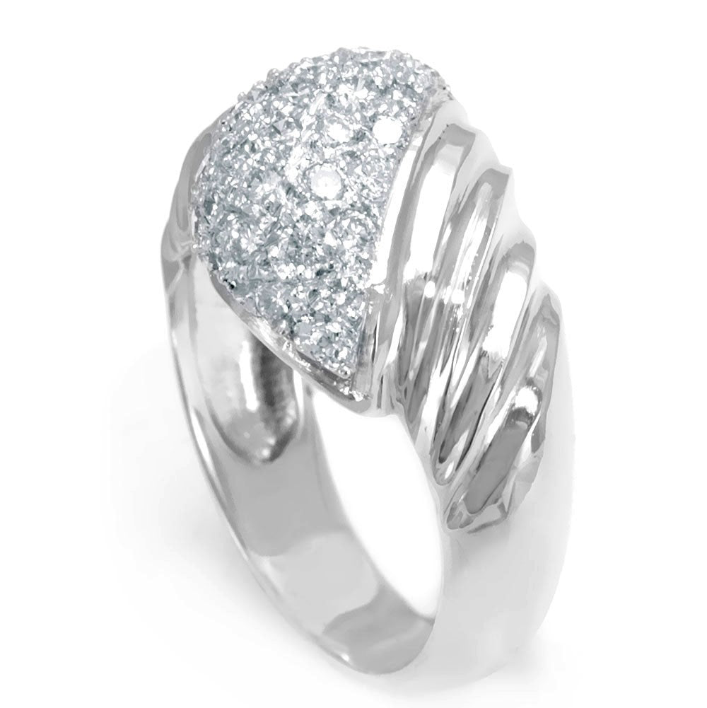 18k White Gold Dome Ladies Ring with Round Diamonds