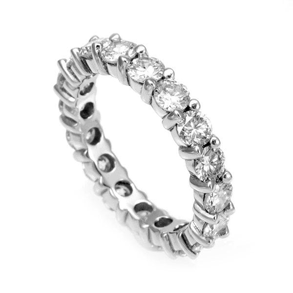 Prong Set Round Diamond Eternity Band in 14K White Gold