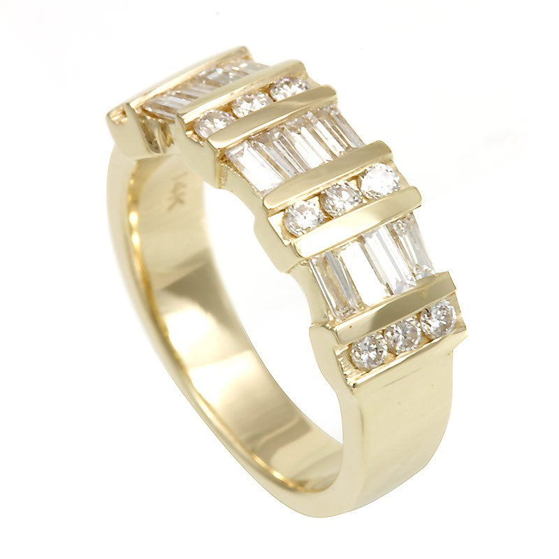 Baguette and Round Diamond Ladies Band in 14K Yellow Gold