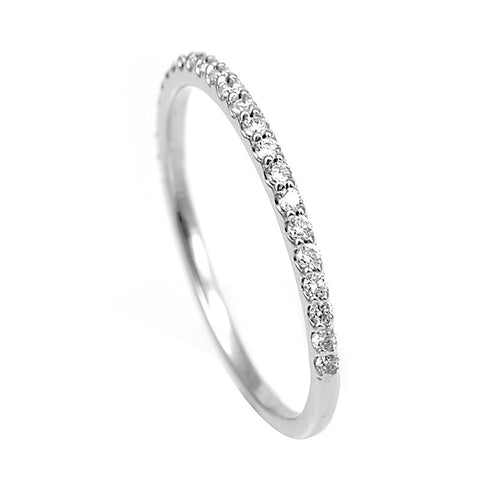Prong Set Round Diamond Ladies Band in 14K White Gold