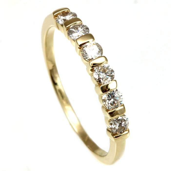 14K Yellow Gold Ladies Band with Channel Set Round Diamonds