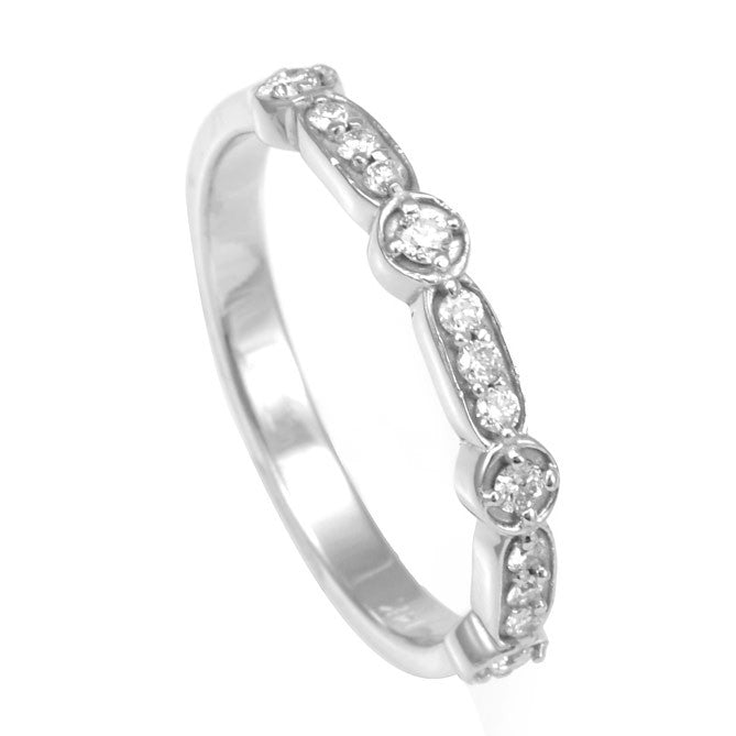 14K White Gold Ladies Band with Prong Set Round Diamonds