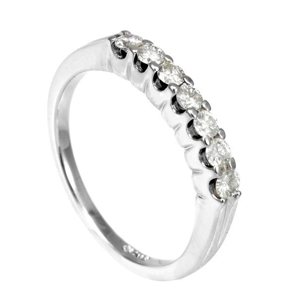 U Prong Set Round Diamonds Ladies Band in 14K White Gold