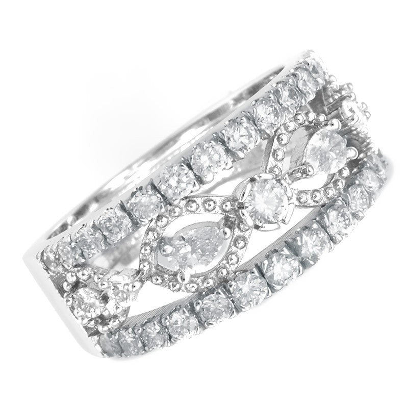 Round and Pear Shape Diamond Ladies Ring in 14K White Gold