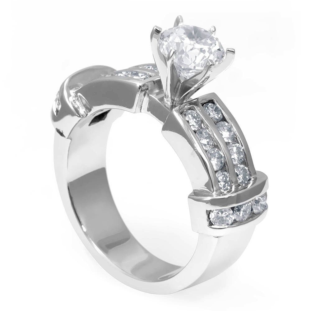 Engagement Ring with 2 row round diamonds channel set in 18K White Gold