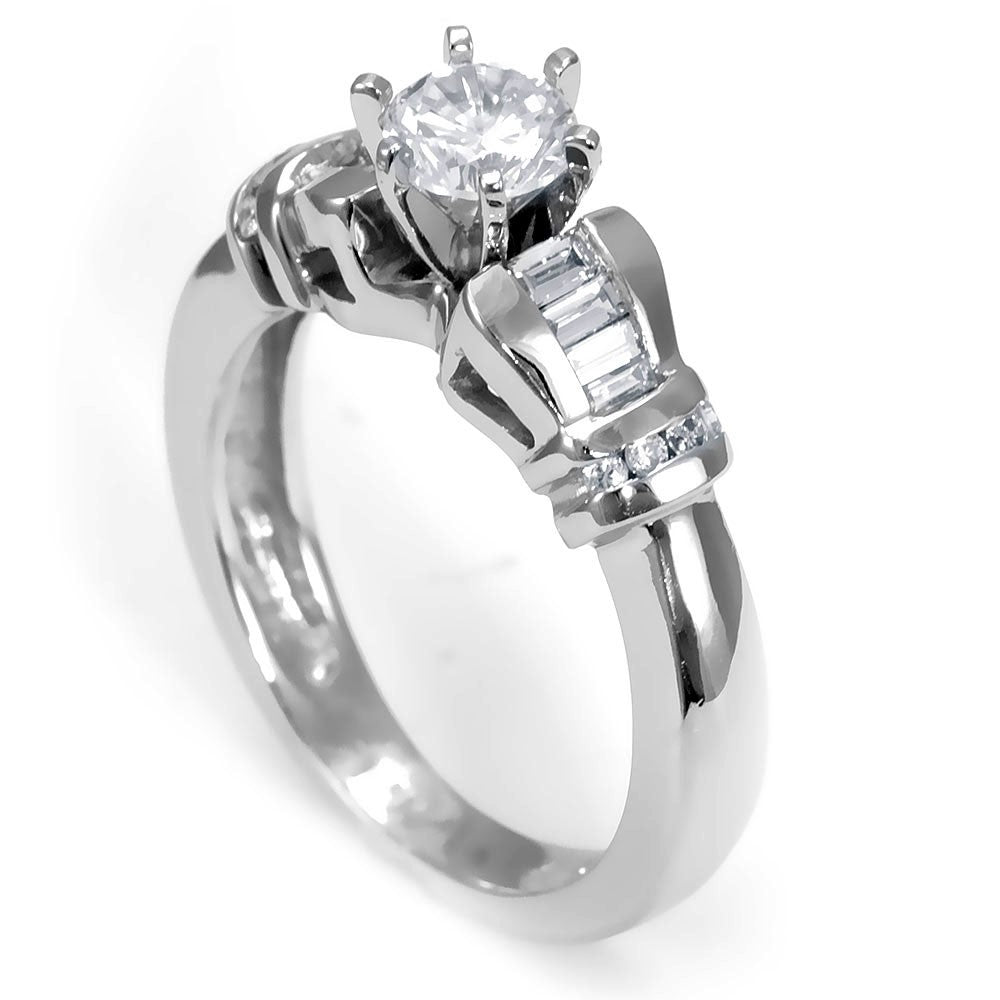 Unique Design Engagement Ring with Baguette and Round Diamonds in 14K White Gold