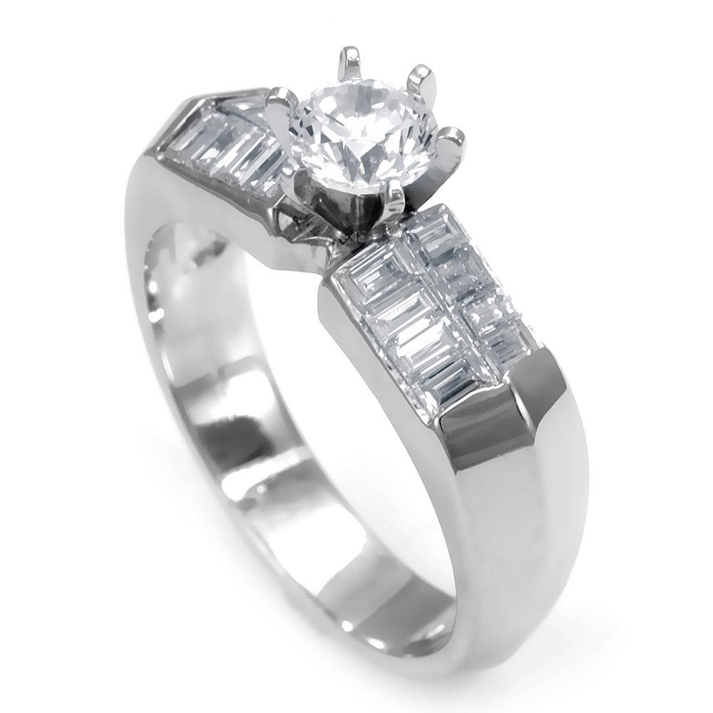 An 18K White Gold Engagement Ring with 2 rows of Baguette Diamonds on the sides