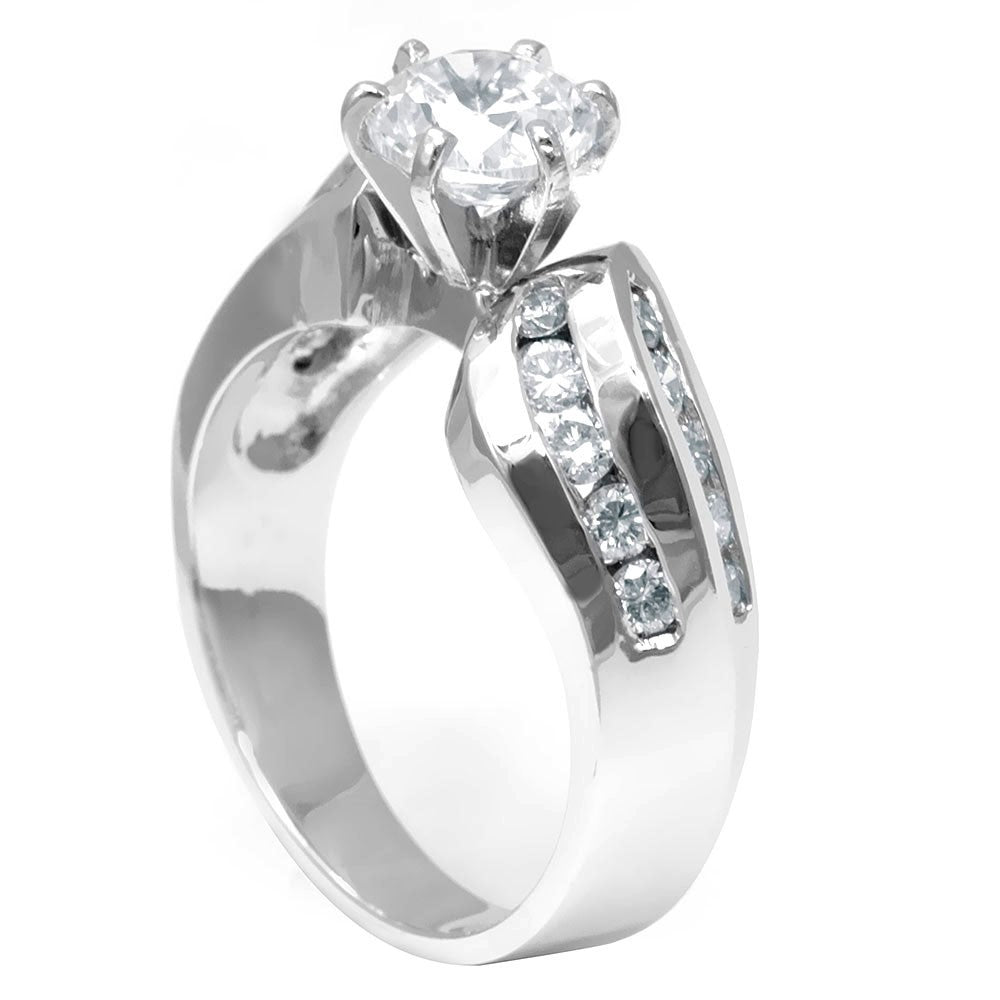 Round Diamond Side Stones in 14K White Gold Engagement Ring
