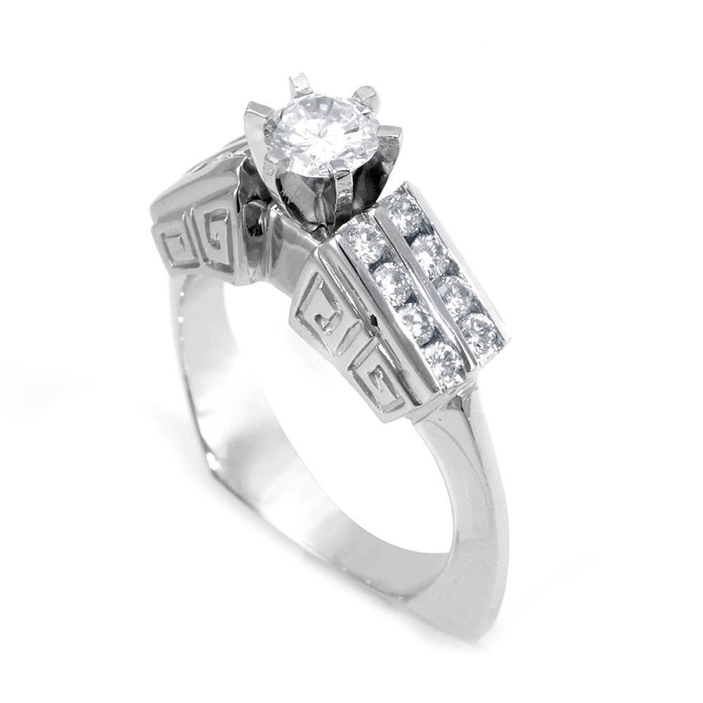 A unique design Engagement Ring with 2 row of Round Diamond Side Stones in 18K White Gold
