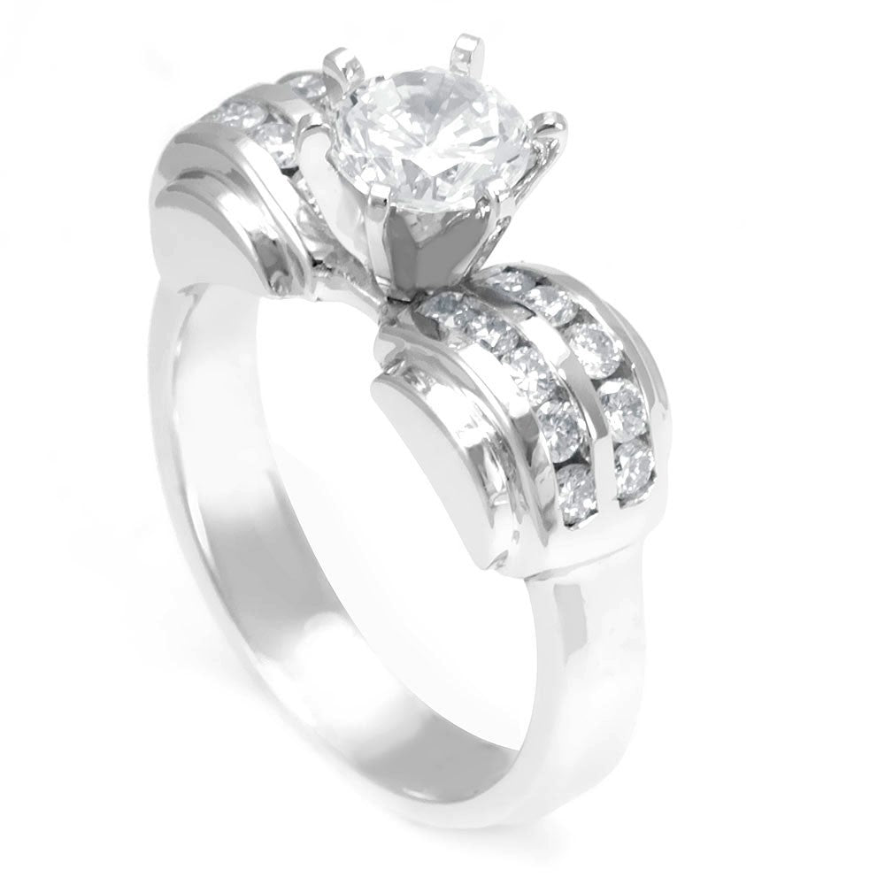 14K White Gold Engagement Ring with 2 rows of Round Diamonds on the sides, Channel Set.