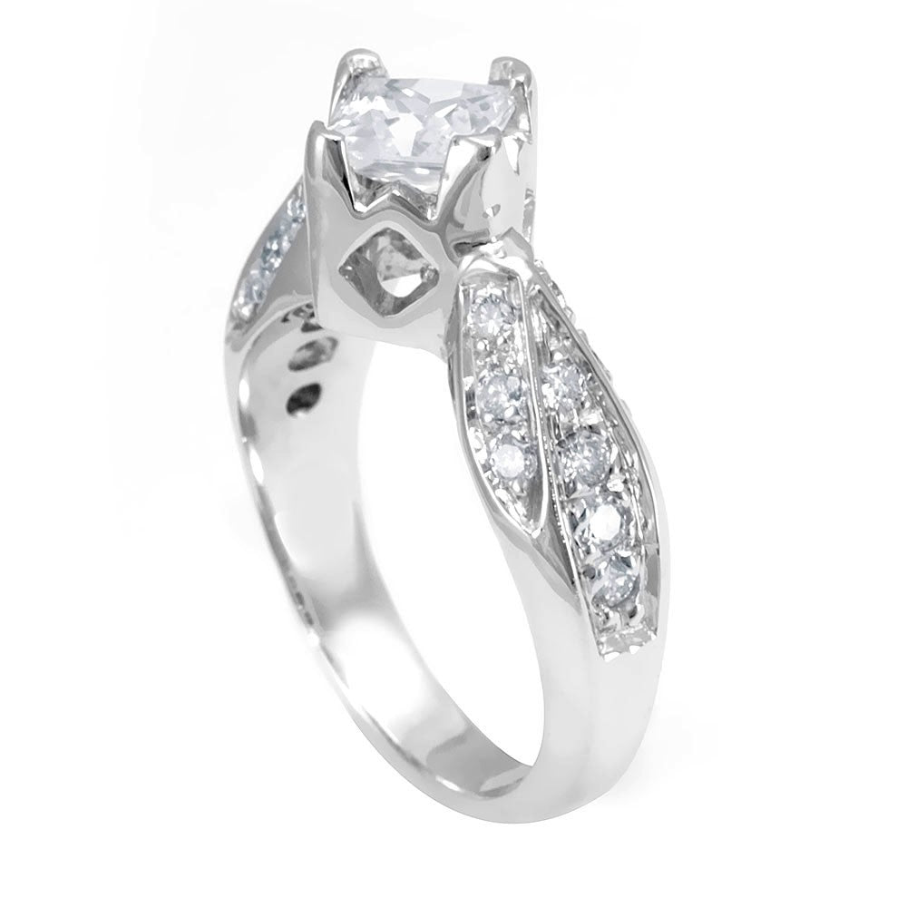 A Pave Set Round Diamonds on a 14K White Gold Engagement Ring