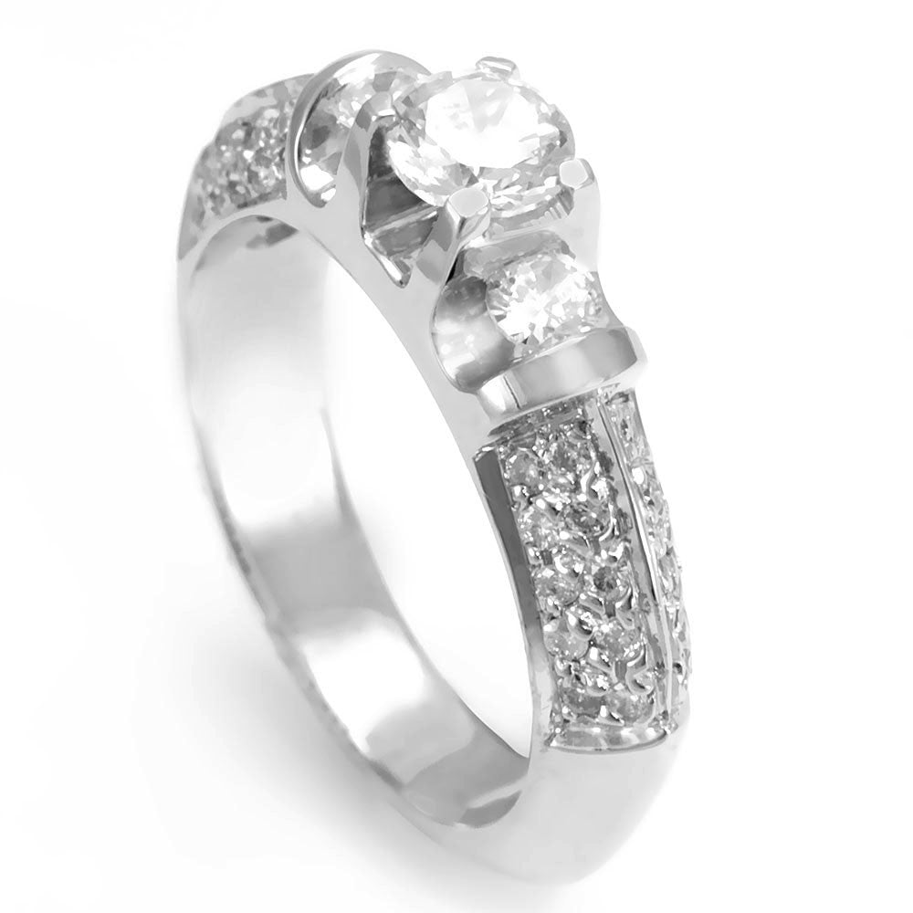 14K White Gold Ring with pave set Round Diamonds