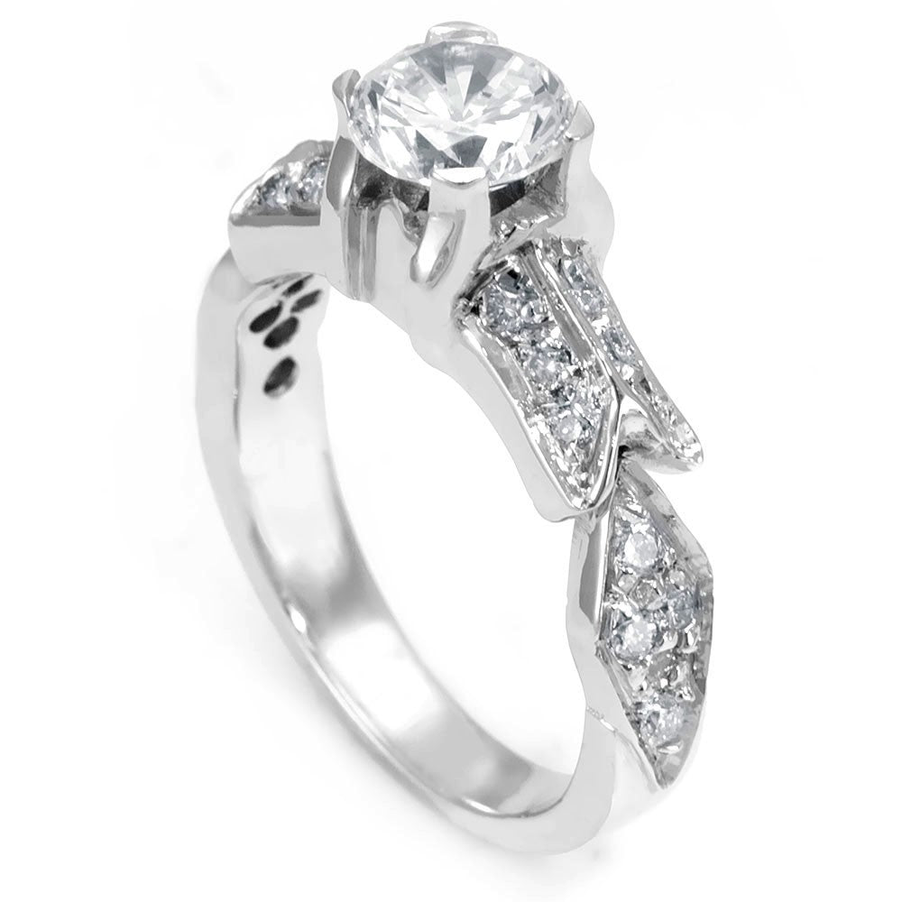 A unique design 14K White Gold Engagement Ring with Round Diamonds
