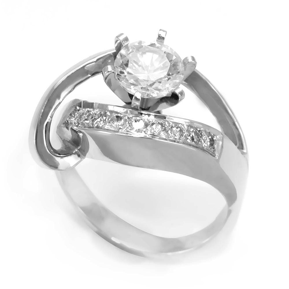 A unique design 14K White Gold Engagement Ring with pave set Round Diamonds