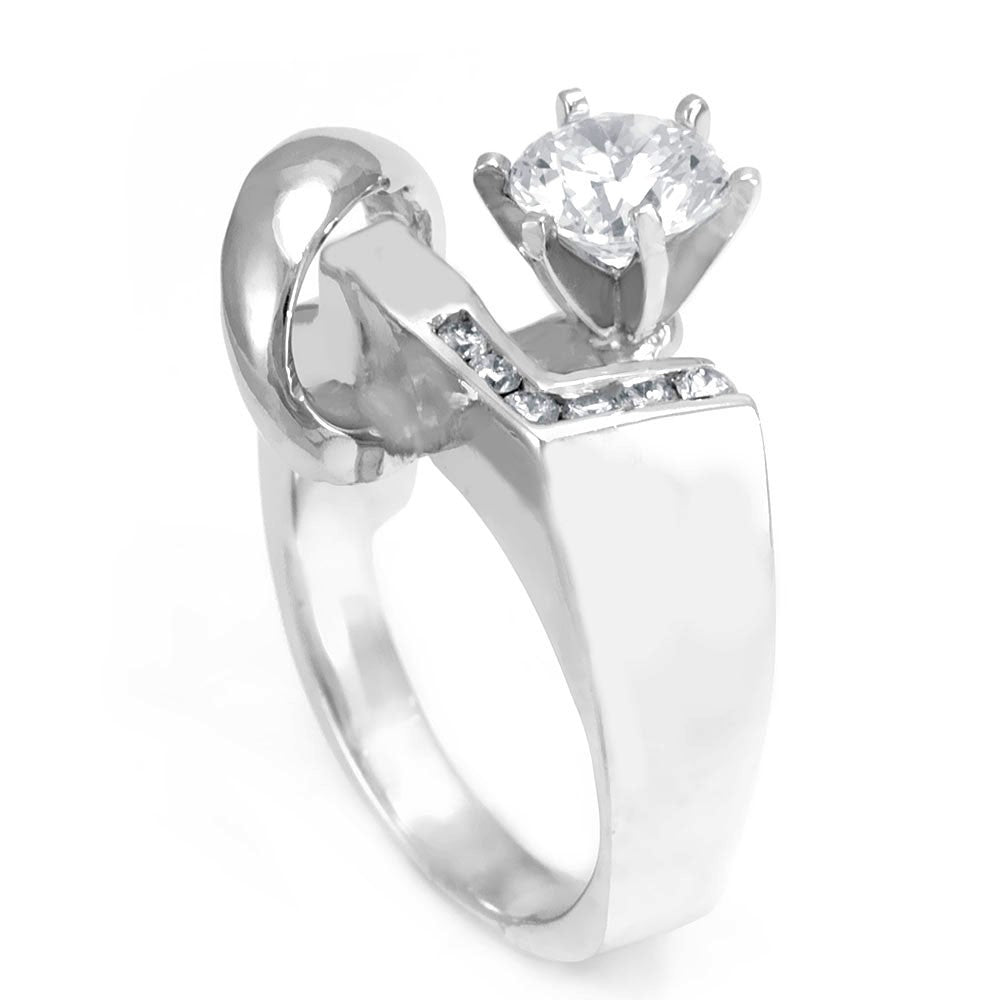 A unique design 14K White Gold Engagement Ring with channel set Round Diamonds