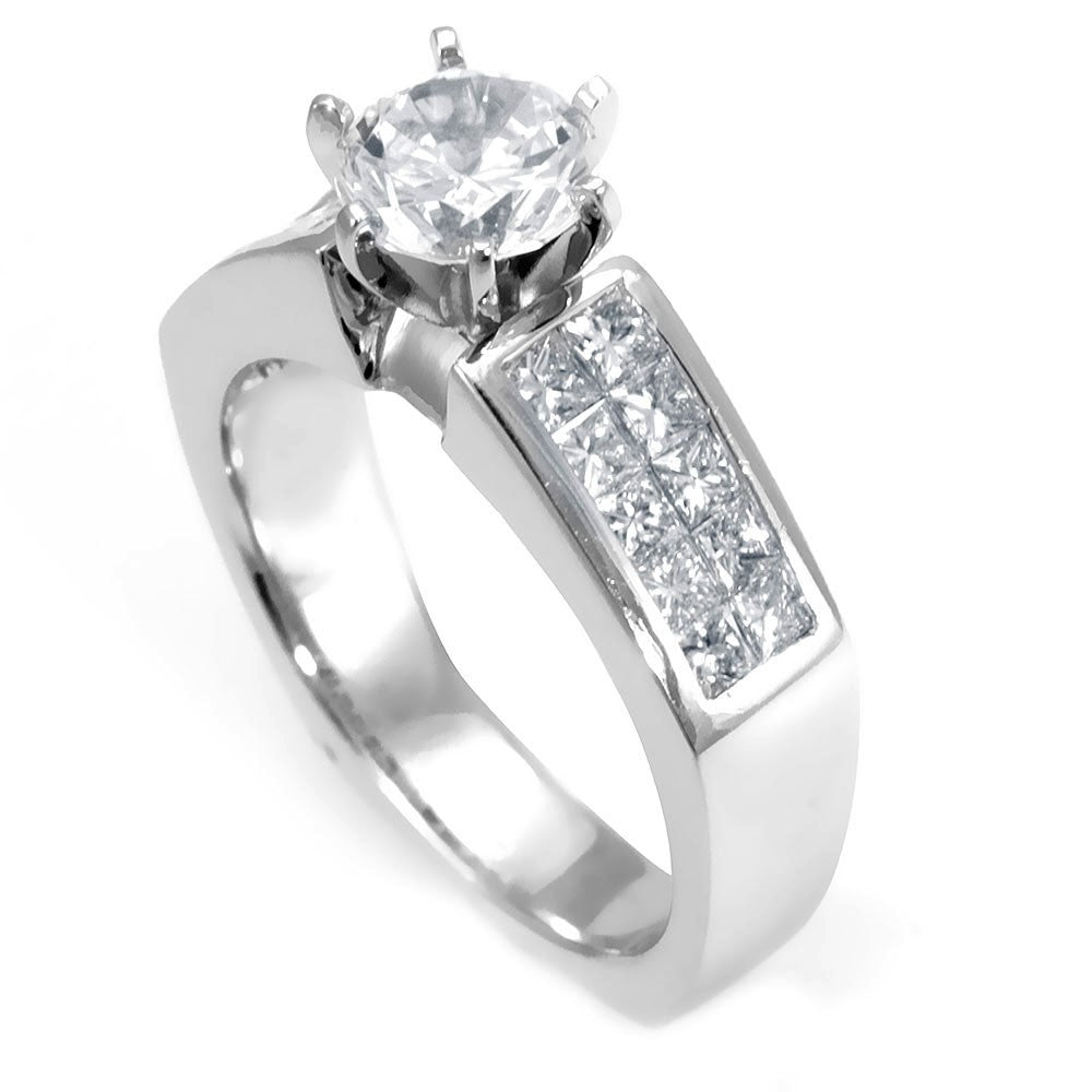 Invisible Set Princess Cut Diamonds in 18K White Gold Engagement Ring