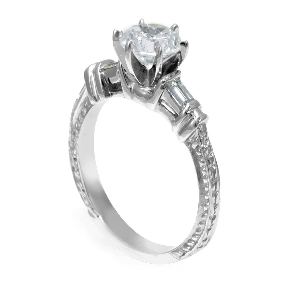 A Dainty Engagement Ring with Baguette Diamonds Side Stones in 14K White Gold