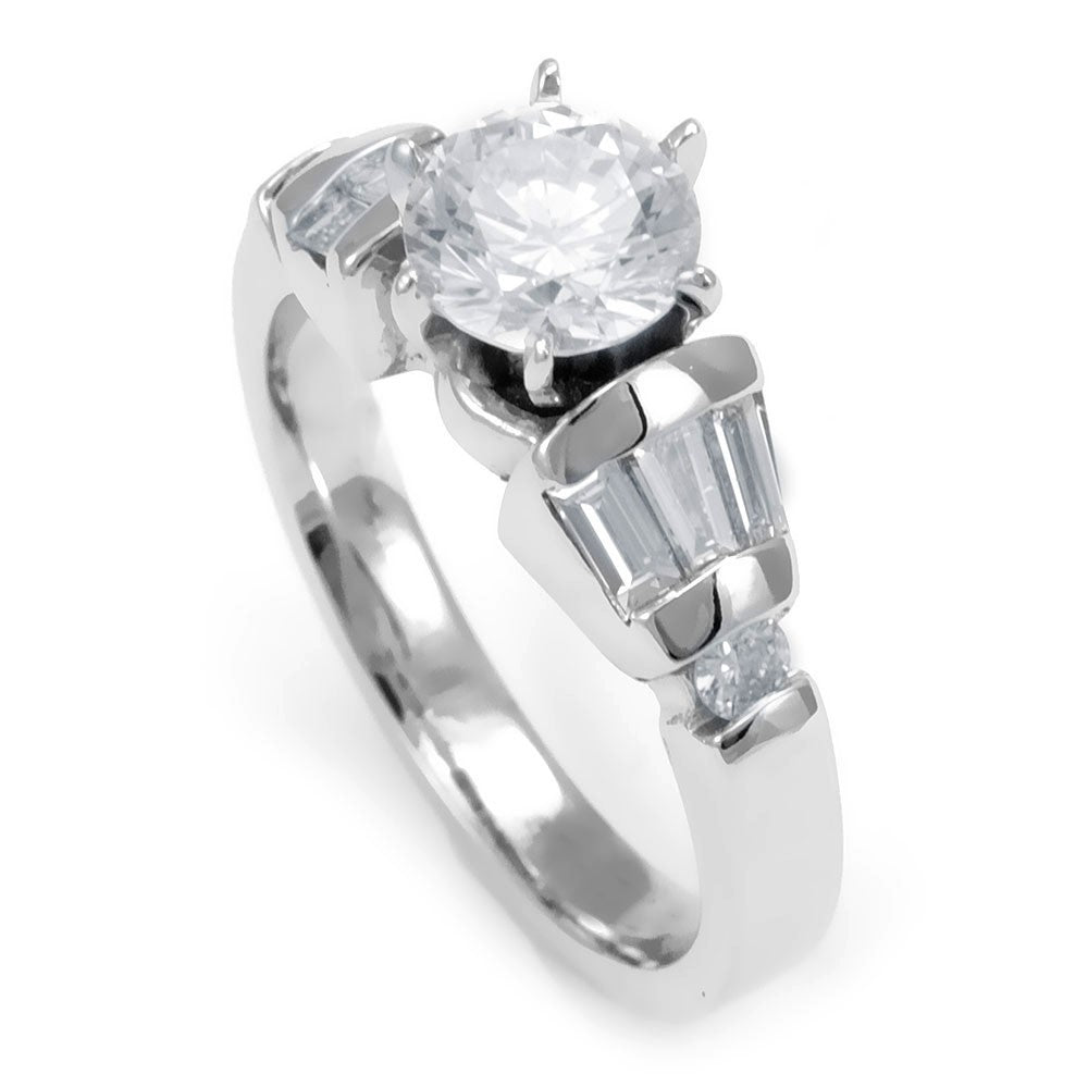 A combination of Baguette and Round Diamonds Channel Set in 18K White Gold Engagement Ring