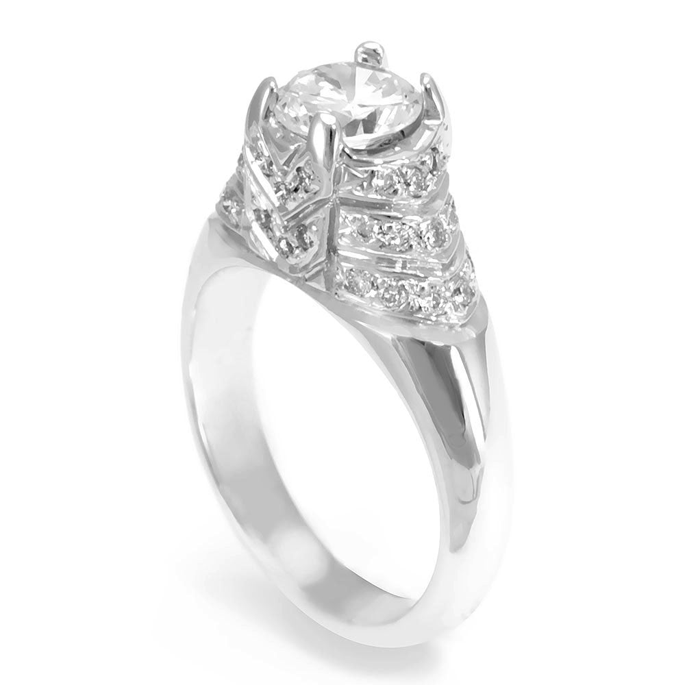 A unique Design 18K White Gold Engagement Ring with Round Diamonds