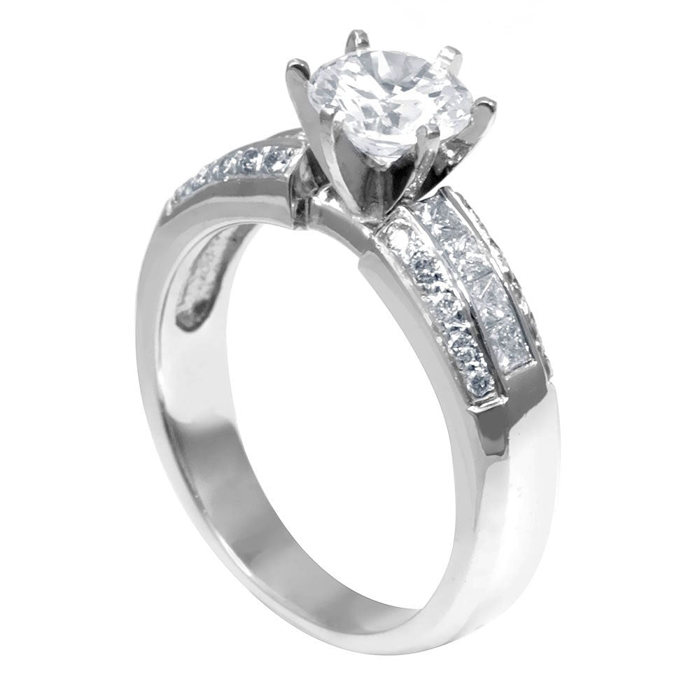 18K White Gold Engagement Ring with Princess Cut Diamond Side Stones
