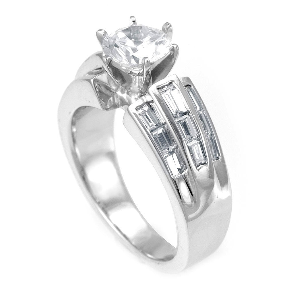 A wide Engagement Ring in 18K White Gold with Baguette Diamond Side Stones