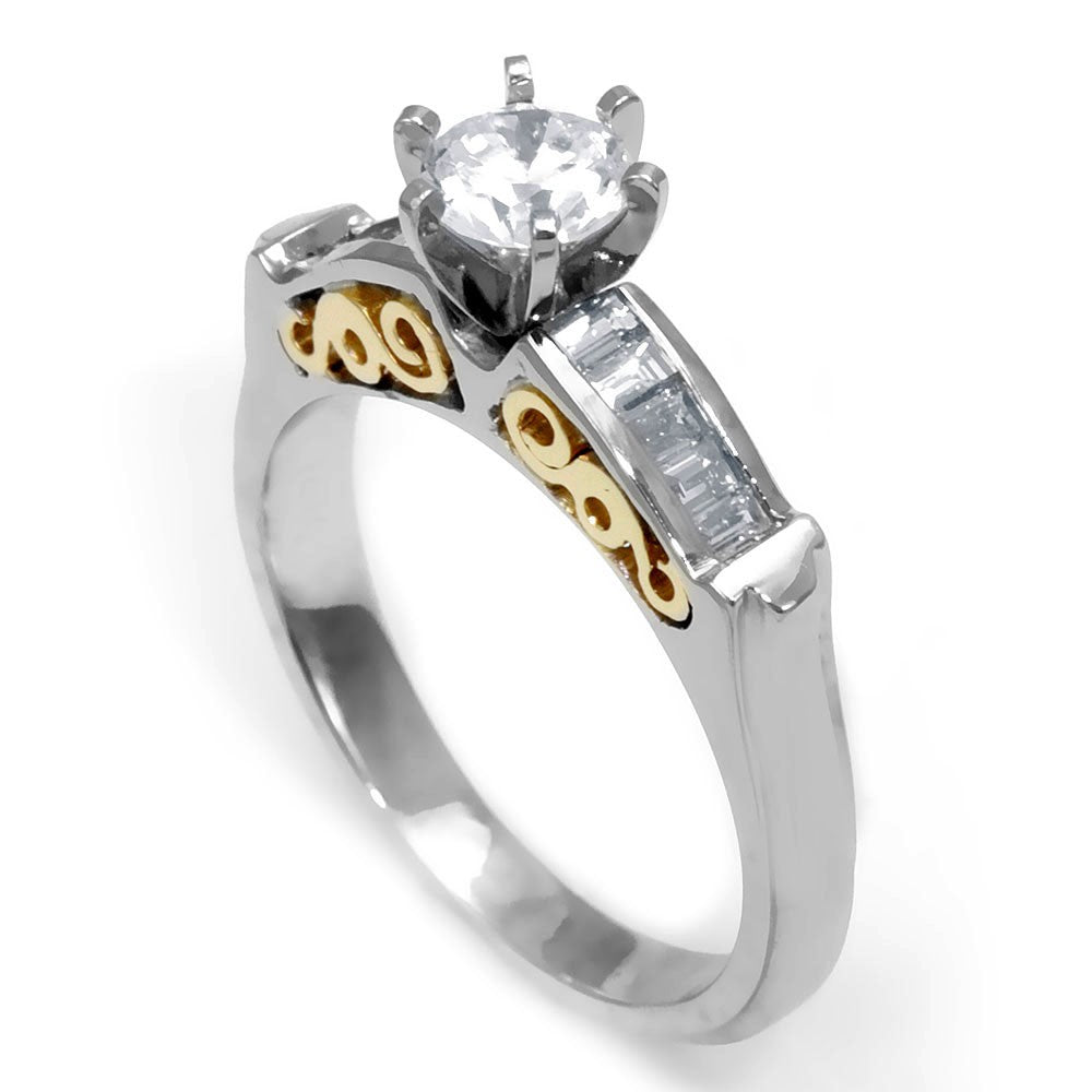 A Dainty Engagement Ring with Baguette Diamonds Side Stones in 14K Two Tone Gold