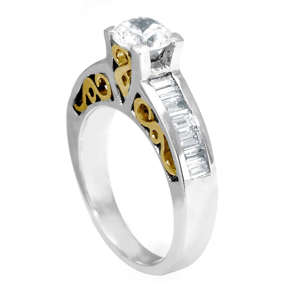 14k Two Tone Engagement Ring with Baguette Diamonds