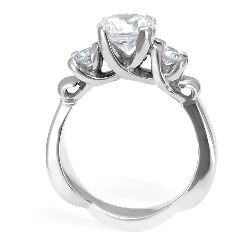 A unique deign 14K White Gold Engagement Ring with Round Diamonds