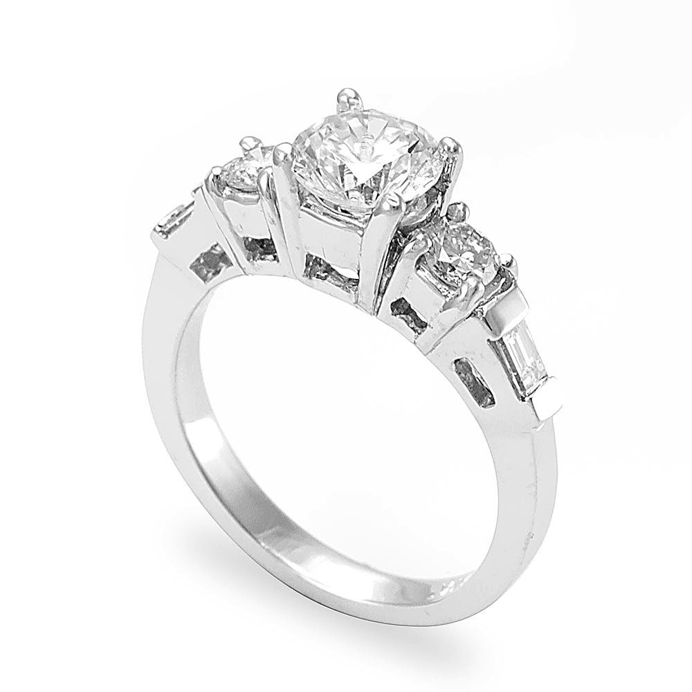 A unique design 14K White Gold Engagement Ring with Baguette Round Diamonds