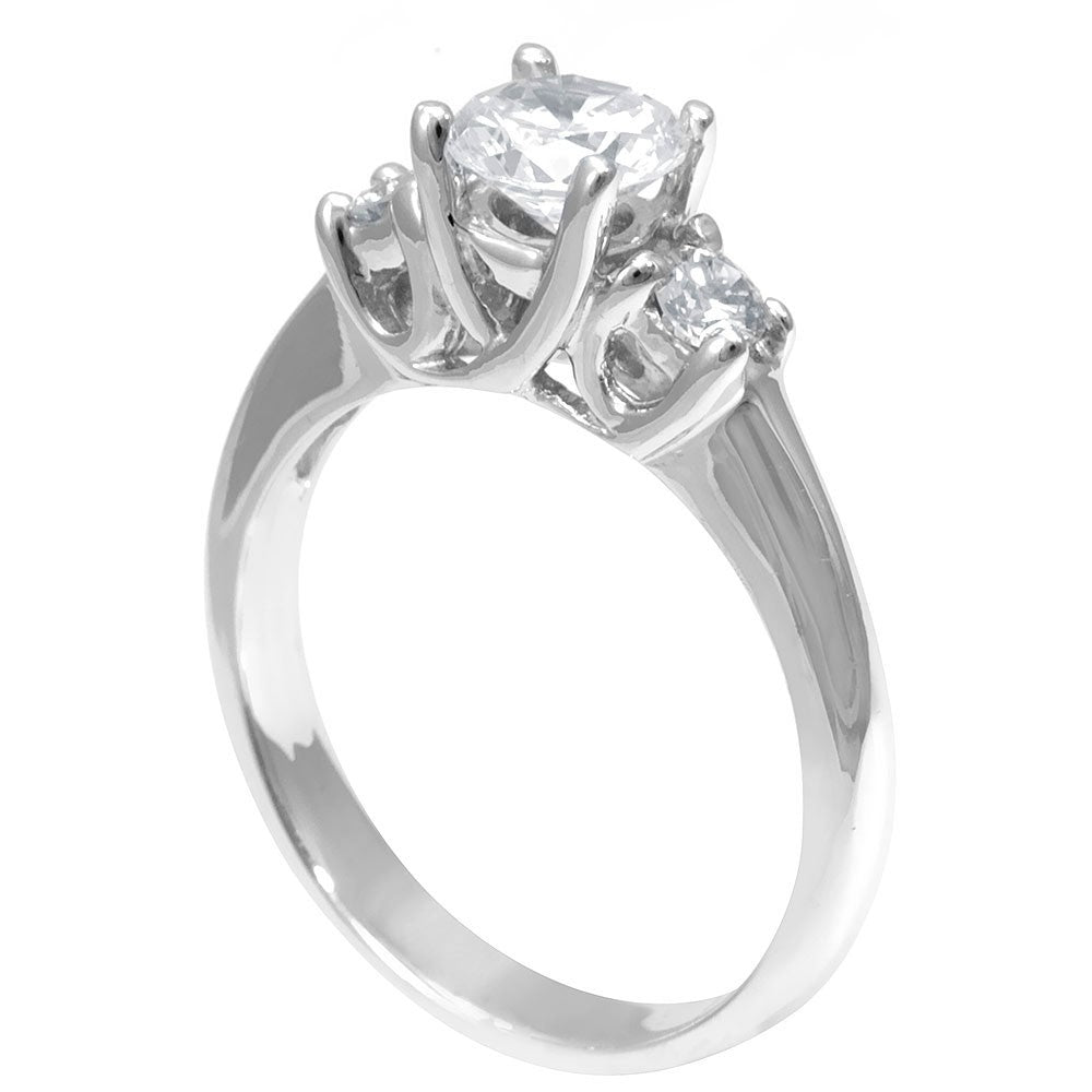 A 3 Stone Engagement Ring in 14K White Gold with CZ center, 3 Diamond Ring, Simple Engagement Ring