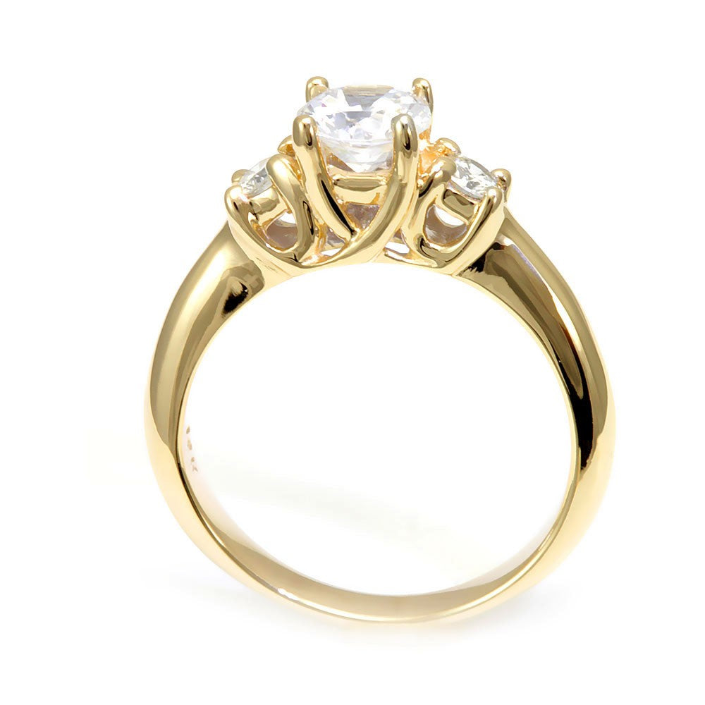 14K Yellow Gold Engagement Ring with Round Diamond Side Stones